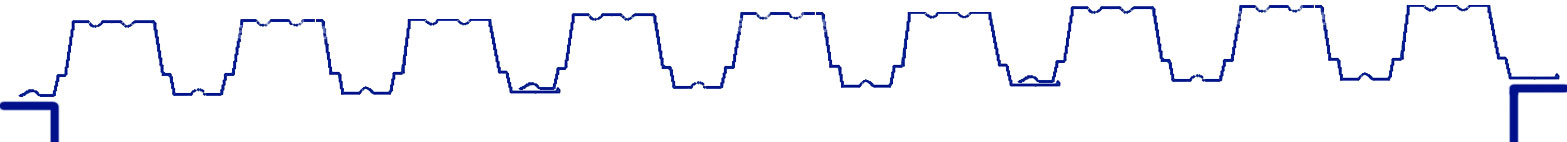 Вначале раскладываем профлист: край без подъема кладется к стене, ширина опирания = ширине замка. Следующий лист кладем на замок предыдущего